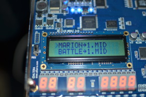 HD44780 LCD showing the MIDI files on SD card.